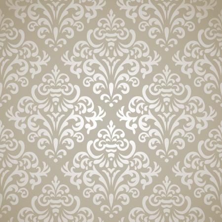 Damask vintage seamless pattern on gray gradient background