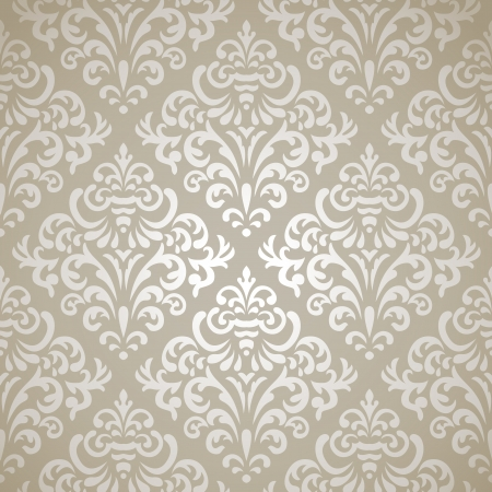 Damask vintage seamless pattern on gray gradient background  Vector