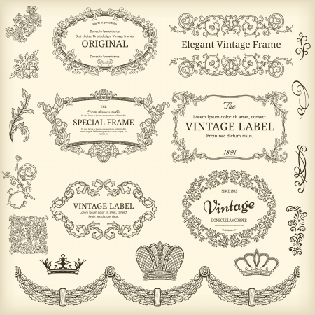 Set of design elements  labels, borders, frames, etc  Could be used for page decoration, certificate, etc Stock Vector - 20921967