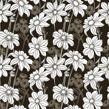 textile image: Gorgeus floral pattern on black background