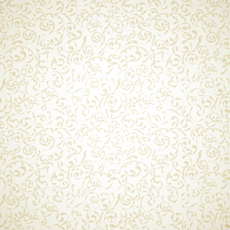 Damask seamless pattern on light beige background Vector