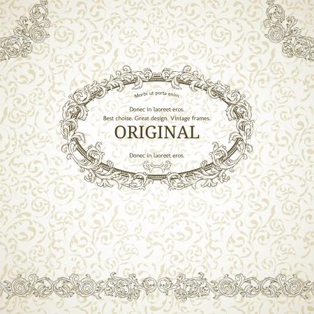 Vintage frame with damask seamless  background Illustration