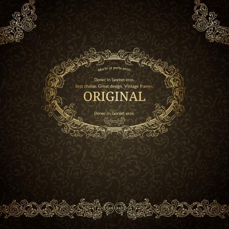 old fashioned: Golden frame on dark damask background