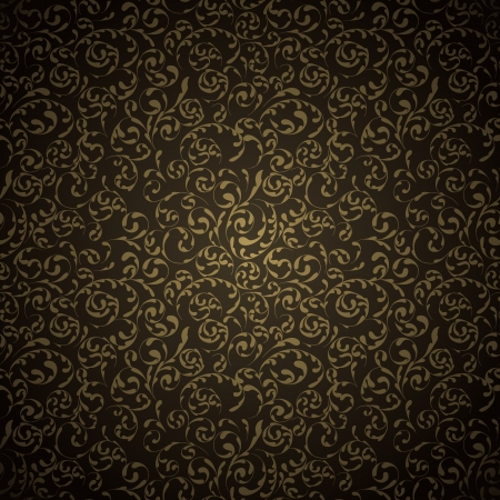 Gold damask seamless pattern on dark background