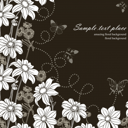 Floral background with buterflies Illustration