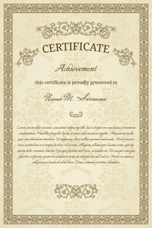 Vintage frame  Could be used as diploma or certificate Vector