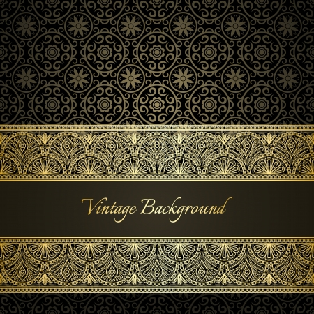 luxury background: Vintage golden  frame with damask seamless  background