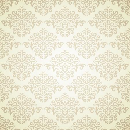 Retro damask pattern on light beige background Vector