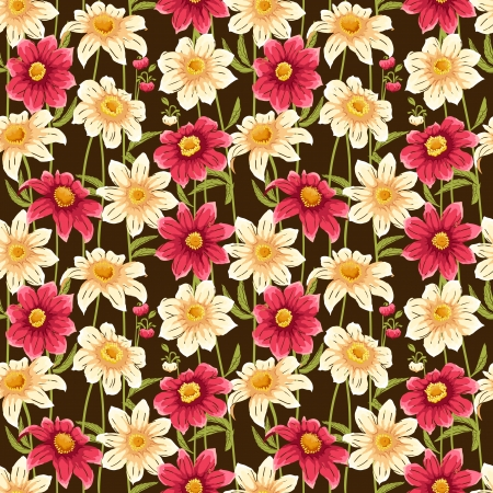 Floral seamless pattern with colorful flowers on dark background Illustration