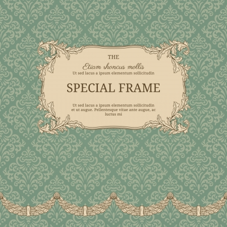 Vintage background with elegant frame with damask pattern Ilustracja