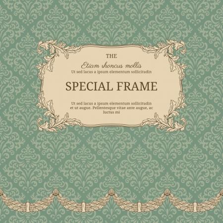 Vintage background with elegant frame with damask pattern Illustration