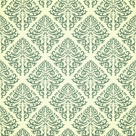 Green damask pattern on beige background Vector