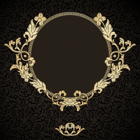 Golden frame with vintage ornament on dark seamless pattern