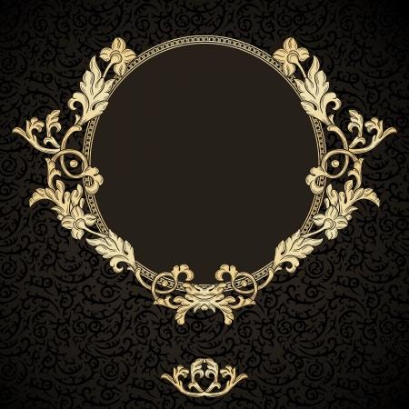 vendimia: Marco de oro con adornos de época en modelo inconsútil oscuro