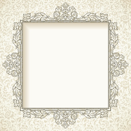 Vintage ornate frame on beige seamless pattern Vector
