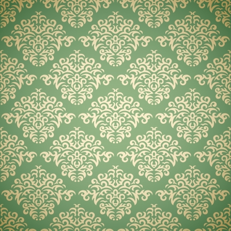 Golden damask wallpaper on green background Vector