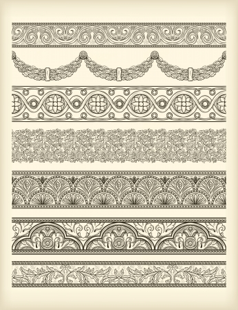 Set of vintage seamless borders Illustration
