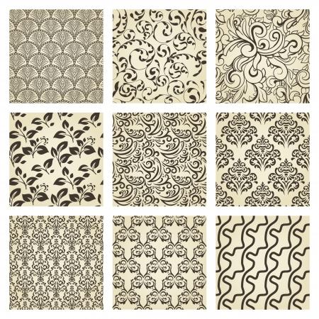Set of nine seamless vintage patterns