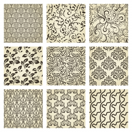 Set of nine seamless vintage patterns Vector