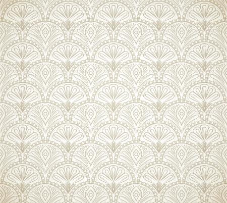 Light vintage seamless pattern on beige background