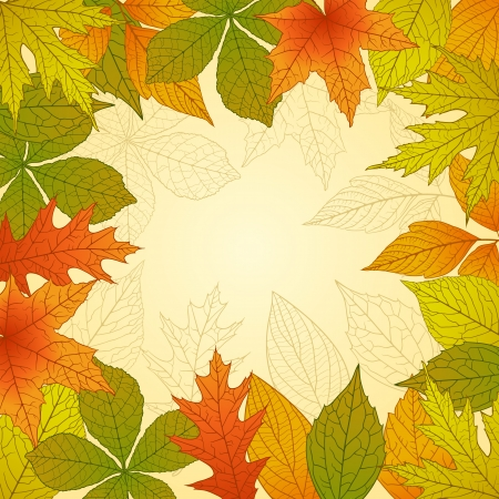 Autumn background with colorful leafs Vector
