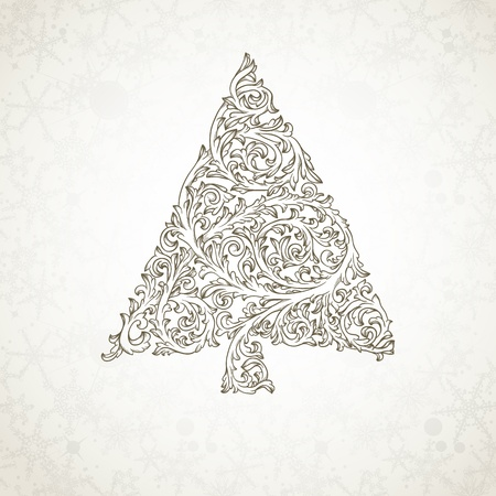 Christmas tree in retro style Vector
