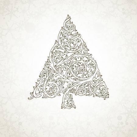 Kerstboom in retro stijl Stock Illustratie