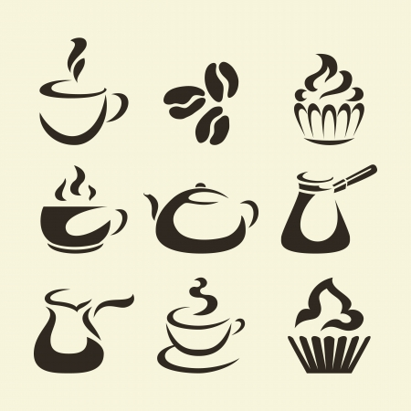 cupcake illustration: Black coffee icons isolated on beige background