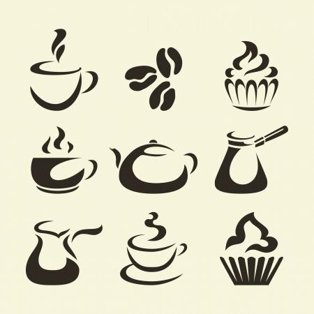 coffee beans: Zwarte koffie iconen op een beige achtergrond