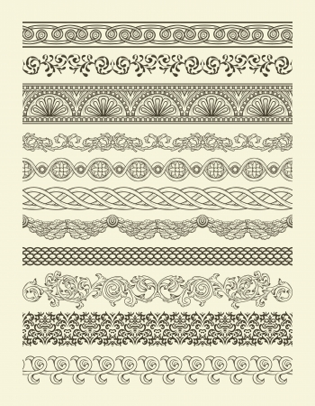 Set of vintage seamless borders Vectores