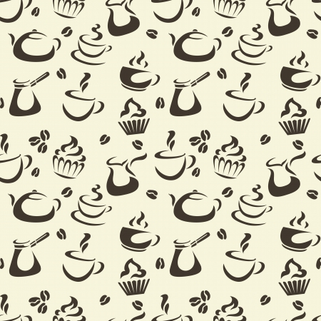 Seamless pattern with coffee items, cups, cupcakes, teapot, etc Vector