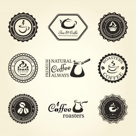 フレームとコーヒーの項目のラベルのセット