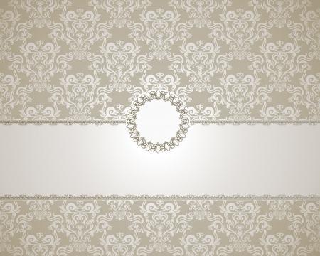 elegante: Cornice d'epoca su sfondo damasco