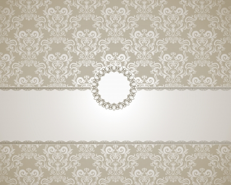 elegant: Vintage frame on damask background