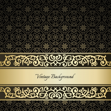 Golden frame on dark damask background Vector