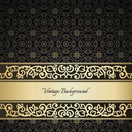 Golden frame on dark damask background