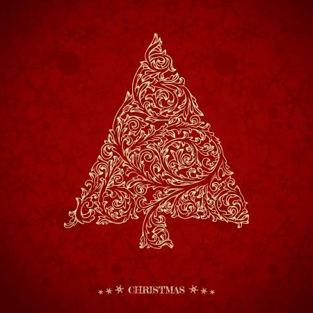 華やかなクリスマス ツリーとクリスマスのグリーティング カード  イラスト・ベクター素材