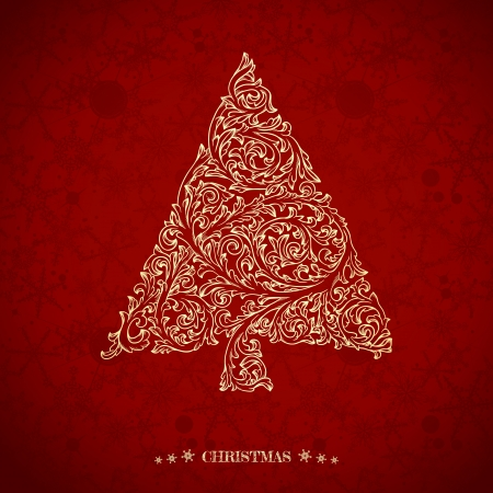 christmas backdrop: Christmas greeting card with ornate Christmas tree Illustration