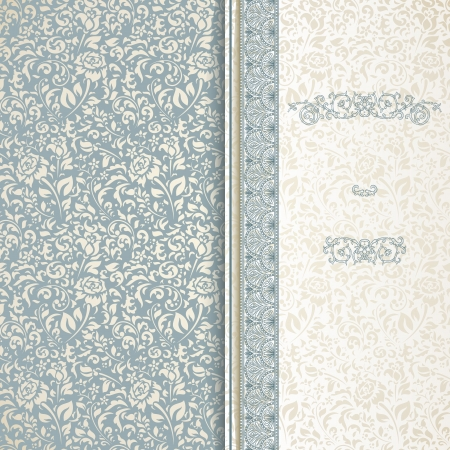 Blue and beige vintage background with seamless pattern Vector