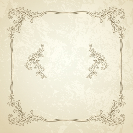 baroque frame: Vintage seamless frame with grunge texture Illustration