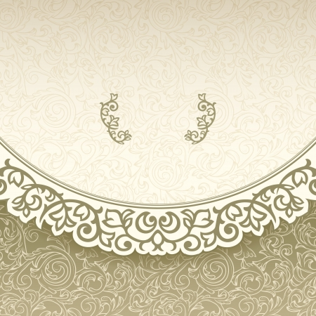 golden texture: Vintage seamless background with ornate border Illustration