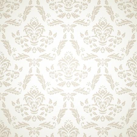 Damask seamless pattern on beige background