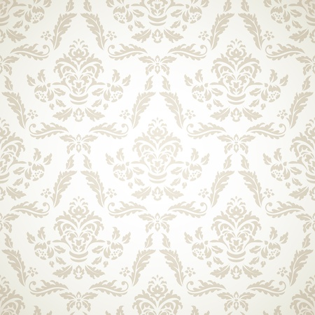 Damask seamless pattern on beige background