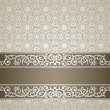 Silver vintage background with ornate frame Vector
