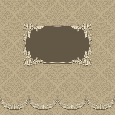 beige stof: Vintage achtergrond met elegant frame met damast patroon