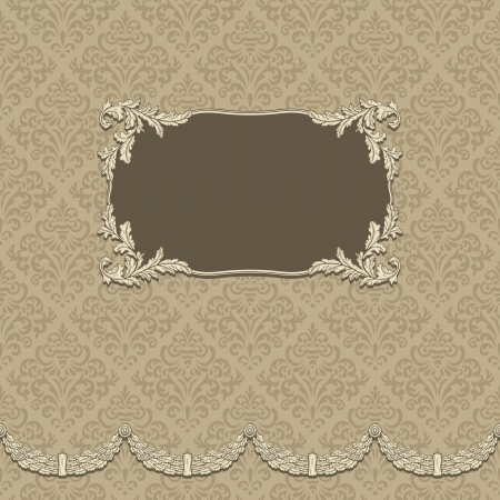 beige: Vintage background with elegant frame with damask pattern Illustration