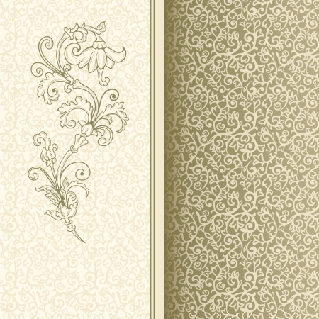 Light vintage background with seamless pattern and stylized flower Vector