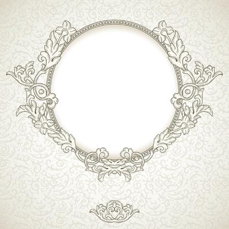 verschnörkelt: Jahrgang Hintergrund mit runden Rahmen