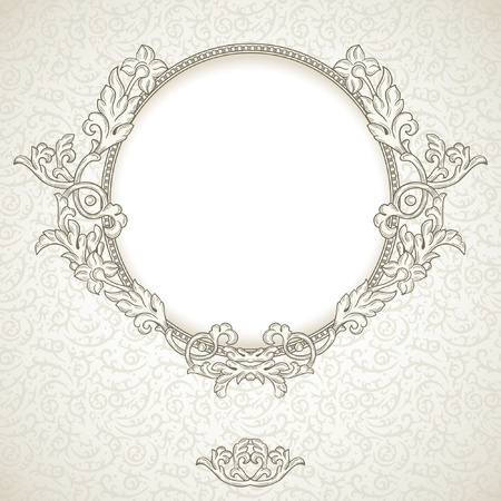 utsirad: Vintage bakgrund med rund ram Illustration