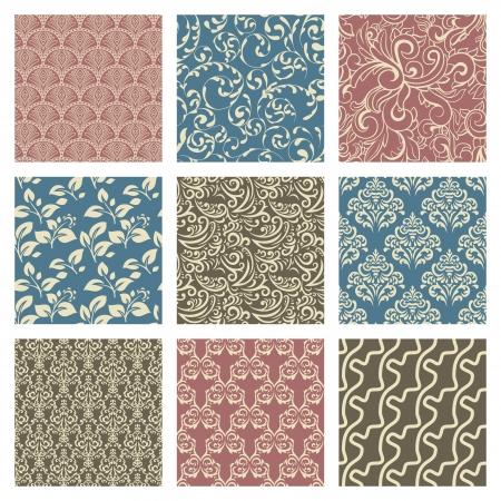 blue damask: Set of nine seamless pattern in retro style Illustration
